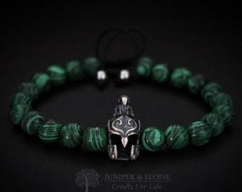 Elven Helmet Bracelet, Mens Bracelet, Elven Bracelet, Helmet charm, Mens Jewelry, Elven Warrior Helmet, Beaded Bracelet