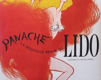 1980s French Vintage Moulin Rouge Poster, Panache Lido de Paris, Cancan Dancer - Rene Gruau