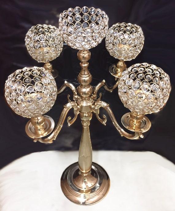 Gold candelabra wedding centerpiece by