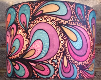 Psychedelic Design, Purple/Pink/Orange/Blue, Hand silk painted, 30cm Drum, Made To Order.