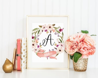 Custom Name Print Watercolor Floral Wreath Flowers Purple Pink Nursery Initial Personalized Calligraphy Banner Print Printable Wall Decor