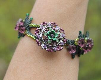 Purple Flower Beaded Micro Macrame Bracelet