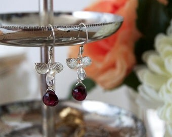Silver and Garnet Orchid Flower Earrings