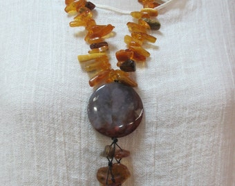 Handmade Baltic Polish Amber Bold Agate Pendant| Amber Natural Stones  Necklace|FiberartBoutique