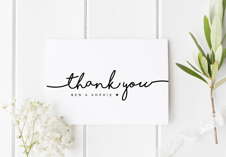 thank you wedding card wedding thankyou personalised simple