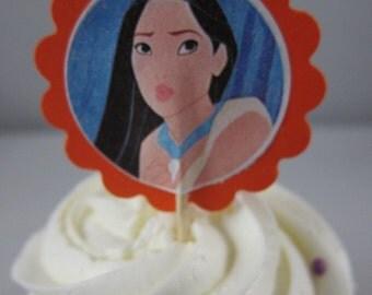 Pocahontas cupcake toppers, Pocahontas cupcake picks, Birthday cupcake toppers