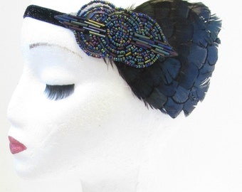 Navy Blue & Black Feather Headband 1920s Headpiece Flapper Great Gatsby Vtg V13
