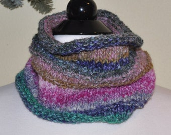 Stylish Noro, Hand Knitted Self striping Neck Warmer, textured neck cozy, Warm neck warmer. Fall winter Fashion