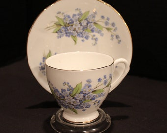 Vintage Elizabethan Fine Bone China, Teacup and Saucer, Forget-Me-Nots Taylor & Kent, England, Tea Cup And Saucer, Tea Party (C207)