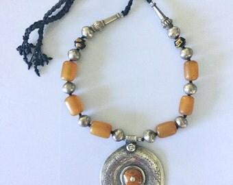Resin Amber Venetian Trade Bead Moroccan Essaouria silver pendant