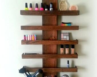 Makeup Organizer - Wall Mounted Makeup Shelf - Nail polish shelf - Makeup brush holder - Makeup display - Nail polish rack - Teen Girl Gift