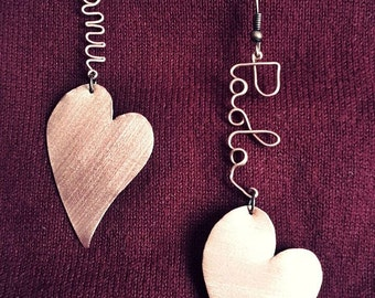 Earrings with name or custom written and copper heart