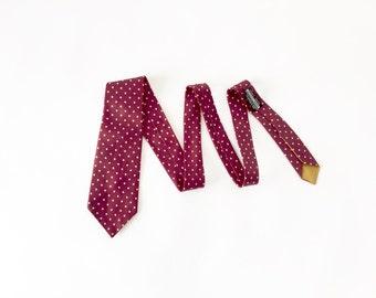 Vintage Tie / Red Polka Dot Tie / Vintage 1960s / Silk Necktie / Made in England