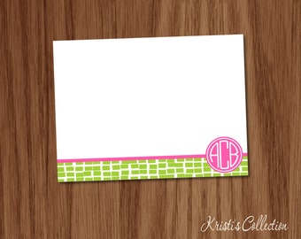 Personalized Monogrammed Note Card Set - Personal Stationery Stationary Custom Notecards for Mom Girls Teens Ladies - Geometric