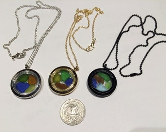 Lockets filled with genuine sea glass