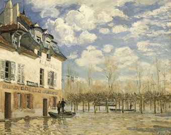 "Alfred Sisley ""Boat in the Flood at Le Port Marly"" 1876  Reproduction Digital Print North Central France Yvelines"