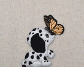 Dalmatian - Puppy Dog - Butterfly on Nose - Embroidered Patch - Iron on Applique - LARGE or SMALL