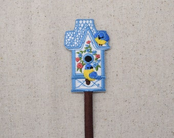 Blue Birdhouse - Garden - Flowers - Blue and Yellow Birds - Iron on Applique - Embroidered Patch
