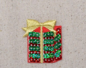 Christmas - Sequin Gift - Red and Green - Present with Gold Bow - Iron on Applique - Embroidered Patch - 1113724