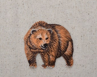 Brown Kodiak - Grizzly Bear - Iron on Applique - Embroidered Patch - 28429A