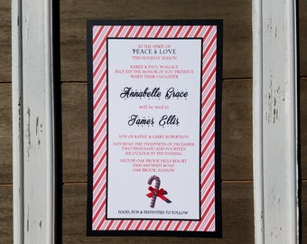 Candy Cane Stripes- Red & White Peppermint stripes Holiday Christmas Wedding Invitation Set- Black and Red Xmas Santa Candy Cane Wedding Set