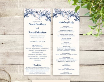 Any colour Leaves Wedding Program Template Instant Download | Editable printable templates