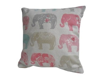 Elephant Cushion Covers, Multi color Elephants Pillow Case, Multicoloured Elephant throw pillow, decorative pillow covers, cushions