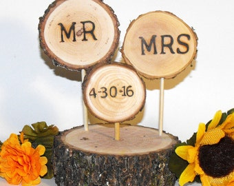 Personalized Rustic Wedding cake topper,  Mr Mrs woodland wedding decorations, Wood slice cake topper, Country barn parties, Anniversary