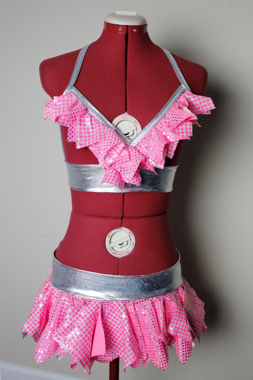 Flirty Girly Pink Stripper Outfit Cage Bra And Mini Skirt Rave