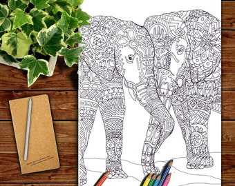 elephant clip art coloring pages printable adult coloring book hand drawn original zentangle colouring page for - Zentangle Coloring Pages For Adults