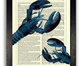 Blue Lobsters Print, Blue Kitchen Decor, Sea Creatures Wall Art, Vintage Book Art, Unique Gift, Kitchen Wall Artwork, Ocean Theme Poster Art