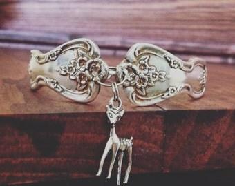 Meadow Flowers, Vintage Silverware Bracelet, with Deer Charm