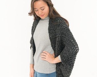 Chunky Knit Wool Sweater, Over Sized Crochet Shrug, Bat Wing Shawl, Women's Soft Knitted Winter Accessory, Crocheted, Cocoon CHARCOAL