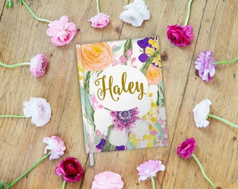 Custom Name Journal, Notebook, Christian Jounal, Devotional, Watercolor Floral