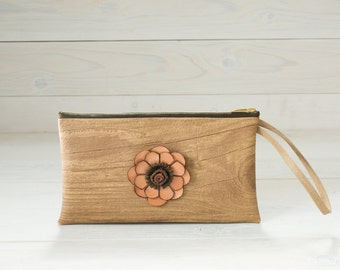 Faux Leather Wood Clutch in Pine with Leather Flower, Tan Clutch, Phone Pouch