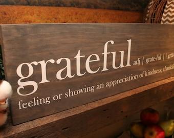 Grateful, Rustic Wood Sign, Farmhouse Chic Wood Sign, Rustic Wall Decor, Rustic Home Decor, Inspirational Wood Sign