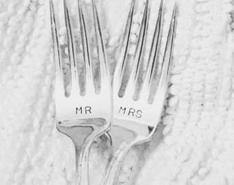 Hand Stamped Wedding Forks - Mr & Mrs
