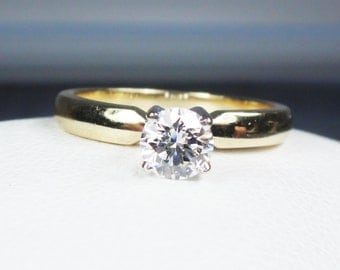 Vintage 14k Gold Diamond Ring Diamond Engagement Ring Yellow Gold Diamond Ring Vintage Diamond Engagement Ring Approx 1/2 Carat Size 6 1/2