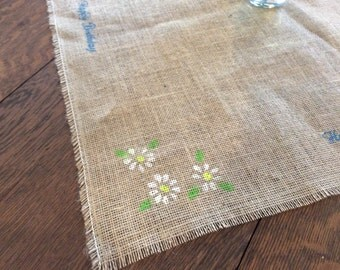 Table Square/Runner Burlap Stenciled Happy Birthday