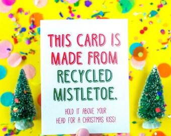 Recycled Mistletoe Card, Christmas Card, Holiday Card, Christmas, Gift