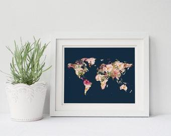 PRINTABLE Art World Map Print Floral Map Print Floral Map Art Travel Print Travel Art Map Print Map Art Home Decor Nursery Print Nursery Art