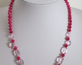 Pink Glass Bead Necklace