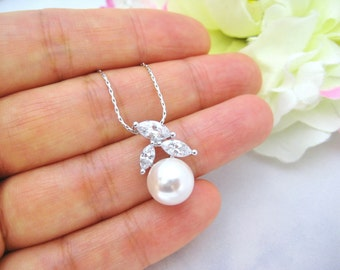 Pearl Necklace Lux Cubic Zirconia Necklace Swarovski Crystal 10mm Round Pearl Wedding Jewelry Bridesmaids Gift Choose Pearl Color (E019)