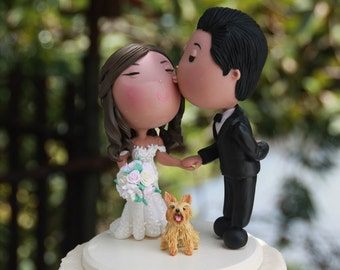 Cute couple kiss with pet dog Wedding cake topper. Wedding figurine. Handmade. Fully customizable. Unique keepsake