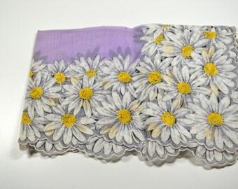 Vintage Flowered Handkerchief Hankie Scalloped Edges Purple Violet White Yellow Daisies Hankie Vintage Hankie Mint Condition