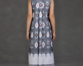 Sleeveless Ikat Shirt Dress