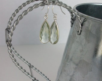 Green Amethyst Earrings Serling Silver Prasiolite Earrings Genuine Green Amethyst Sterling Silver Dangle Earrings Prasiolite Earrings E0100