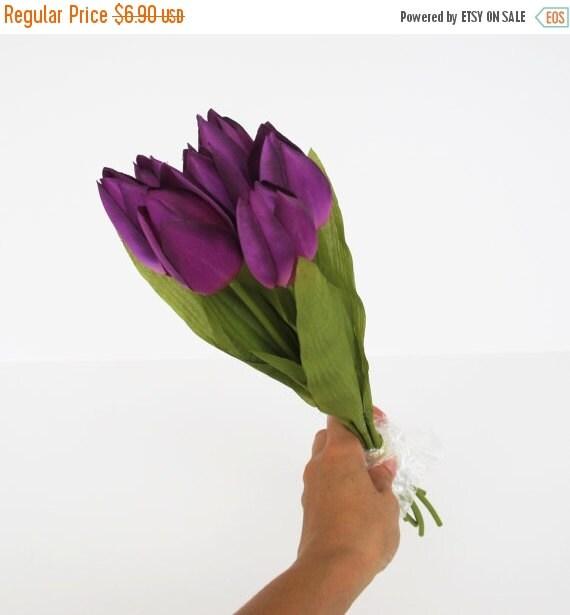 ON SALE 7 Purple Tulips Artificial Flowers Silk Tulip ...