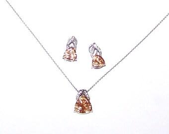 925 Sterling Citrine Earrings & Citrine Necklace / SALE / Pendant / Demi Parure / Set #289
