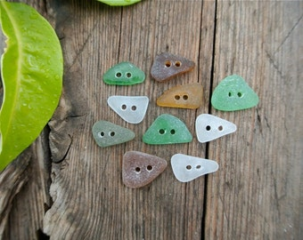 Sea Glass Buttons, Glass Buttons, Genuine Sea Glass, Craft Supplies, Green Sea Glass, White Sea Glass, Greek Sea Glass, Beach Finds